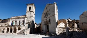 St. Benedict's Cathedral in the ancient city of Norcia is seen following an earthquake in central Italy, October 31, 2016. REUTERS/Remo Casilli